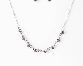NEW Purple Sliver Beaded Jewelry Set