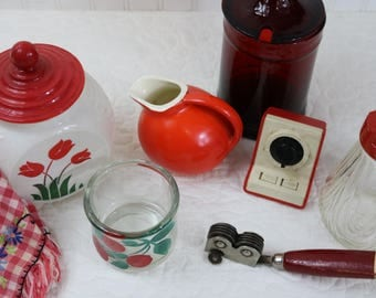 Red collection of vintage kitchen items