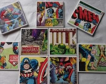 Superhero Ceramic Coasters - Set of 4
