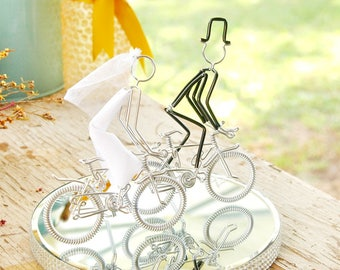 Wedding Cake Topper, Mr and Mrs Silver Mountain Wedding Bikes with Silver Wheels, Handmade Wedding Cake Topper