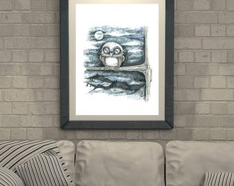 Owl Cute Digital painting/ Wall art/ Poster/ Cute/ Blue and Gray/ Moon