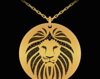 Leo Lion Zodiac Astrology Astrological Sign or Symbol Necklace, Signs in the Stars, Round Pendant 18k Gold Plated Laser Engraved Gift