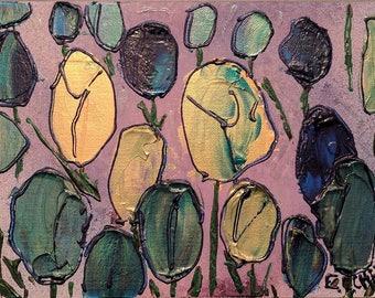 "Tulips by ECCHEN 2009 Acrylic on Canvas Board 9"" x 12"""