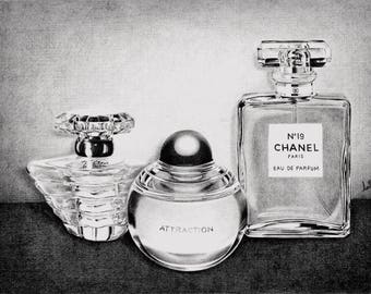 Pencil Drawing Perfume Bottles.  Fine Arts.  Hyperralistic.