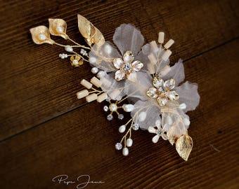 Bridal Hair Clip Crystal Leaves Wedding Hair Accessory Bridal Hair Accessory Crystal Bridal Comb Floral Comb Bridal Bling Bridal Hair Clip