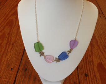 Seaglass and Starfish Necklace