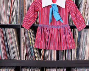 vintage 60s 70s girls dress with sailor bow . Polly Flinders size 5