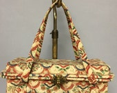 Vintage 1940's, Art Deco Tiki Print, BARKCLOTH BOX Bag Purse, Great Deco Clasp