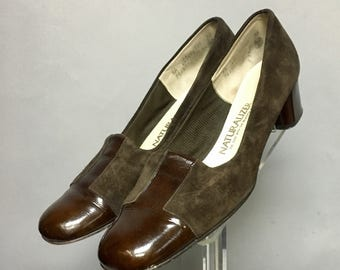 60s MOD Shoes / 70s Chunky High Heels / Genuine Patent LEATHER Shoes / size 9.5