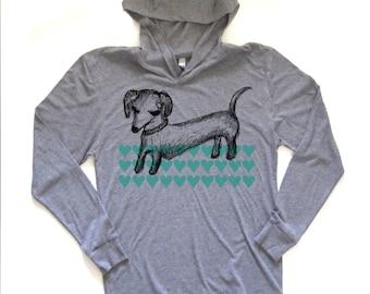 dachshund hooded tshirt, dachshund design, dachshund longsleeve shirt, dachshund sweatshirt, unisex hoodie, megan lee designs, free ship