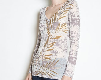 Gold Leaf Long Sleeve V-Neck