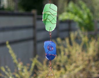 Wind Chime Sea Glass Copper Windchimes Suncatcher Outdoor