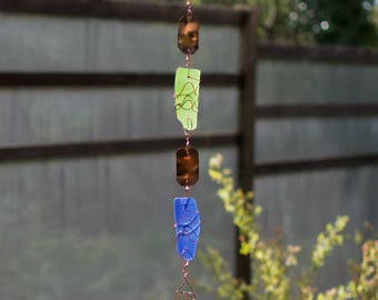 Wind Chime Sea Beach Glass Copper Outdoor Handcrafted Art Wind Chime