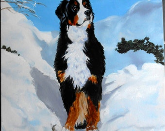 Pet Portrait, Bernese Mountain Dog Custom Portrait Oil Painting - Christmas Gift, Dog Portrait Artist, Custom Portrait Painter, Paint my dog