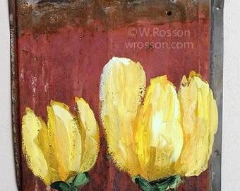 Yellow Tulips, Painting, Metal Shingle, Vintage, Original Art, Flowers, Original Painting, Home Decor, Patio, Garden, Porch, Winjimir, Art