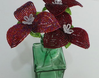 French Beaded Trillium in Deep Red & Rainbow Red