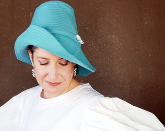 Blue spring hat, womens gift, asymmetrical brim cloche, turquoise wide brim hat, handmade millinery for women : Piazza