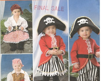 Simplicity 2561 Size 6m, 1, 2, 3, 4  Toddler / boys / girls Pirate, Captain costume sewing pattern.  Andrea Schewe, dress up, Halloween