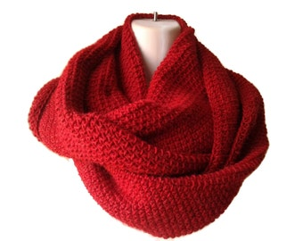 Red Pure Baby Alpaca Infinity Scarf Scarlet Circle Scarf SAMANTHA Ready to Ship - Winter Fashion Gift for Her