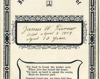 Memorial mourning death funeral card Baltimore Maryland Turner oddity remembrance
