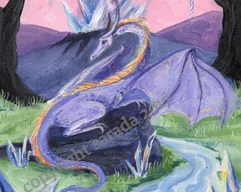 Crystal purple dragon fantasy painting, original acrylic painting 8 x 10 pink sky, unicorn horns, pastel landscape, 80s retro rainbow girls