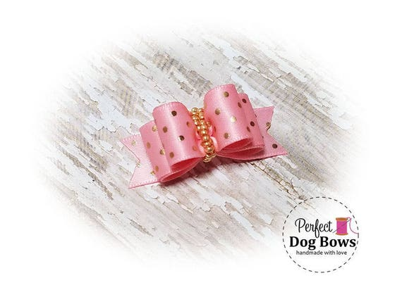 Dog Bow,  Pink Satin with Gold Dots, Pet Hair Bow Pink
