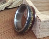 Titanium Ring, Wood Ring, Meteorite Ring, Dinosaur Bone Ring, Wedding Ring, Handmade Ring, Wooden Ring, Wood Inlay Ring, Engraved Ring