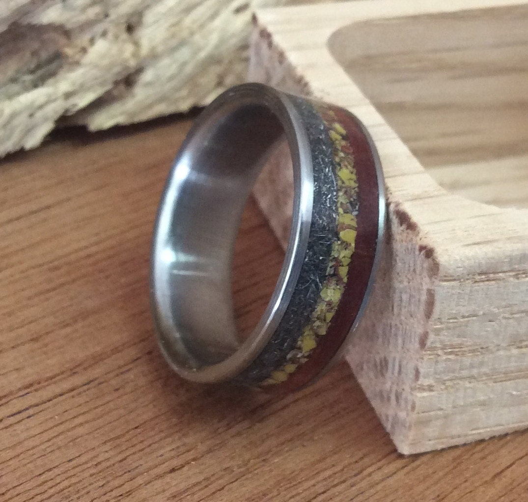 titanium ring wood ring meteorite ring dinosaur bone ring