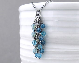Blue Beaded Necklace Silver Necklace Pendant Boho Necklace Charms Turquoise Necklace Unique Handmade Jewelry Gift for Her - Shaggy Loops