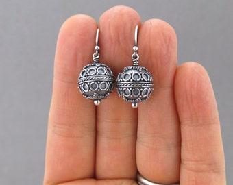Silver Bead Earrings Silver Drop Earrings Simple Silver Jewelry Beaded Jewelry Bohemian Jewelry Gift for Women - Petite Drops
