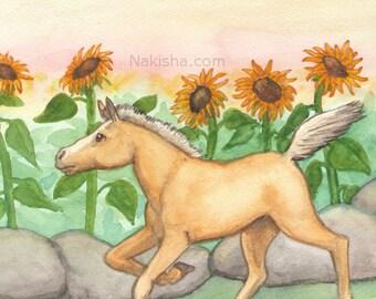 Original Art - The  Sun - Watercolor Horse Painting - Art from The Riderless Tarot