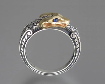 OUROBOROS silver and 14k yellow gold mens unisex Snake ring with Blue Sapphire eyes