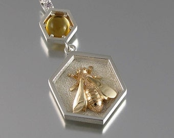 BEE silver and 14k gold charm with citrine and white sapphires