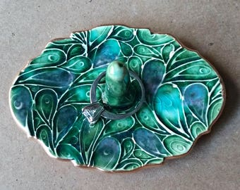Ceramic Ring Holder  Peacock Green 3 1/4 inches long