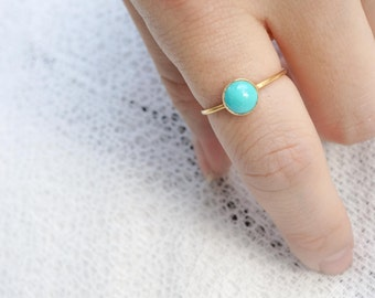sleeping beauty - 6mm turquoise 14K gold-fill ring. stack rings. sleeping beauty turquoise teal mint green gold ring