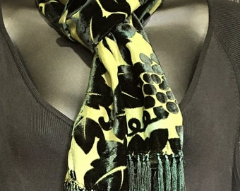 Hand Dyed Silk Velvet Scarf with Fringe in Rich Green Burn Out