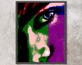 "Original Pop-Art Print ""Blue Eye with Blue, Green, Red, and Rose""  11x14 8x10 8.5x11"