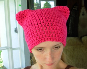 Purrfect Kitty Cat Eared Hat-Hot Pink-Pussy Hat