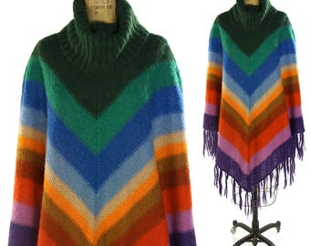 Vintage Rainbow Poncho / Fringed Mohair Blanket Sweater / Psychedelic Hippie Shawl Textile Art to Wear Boho Summer of Love Festival Knit