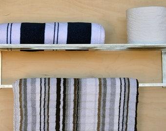 Steel Bathroom Shelf, Steel Kitchen Shelf with Towel Rack, Bath Shelf Storage with Towel Rod, Modern Steel Shelf