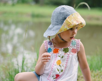 Floppy Sun Hat for Girls with Denim and Vintage Yellow Floral Brim
