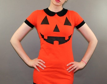 Halloween Pumpkin Jack O' Lantern Peter Pan Collar Wednesday Addams Goth Dress Costume Horror Movie