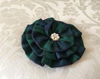 Tartan Plaid Flower Brooch.Hair Clip.pin.Navy Green Tartan Plaid.Rosette.Navy Blue.Forest Green.Navy Green Plaid.headpiece.fascinator.fabric