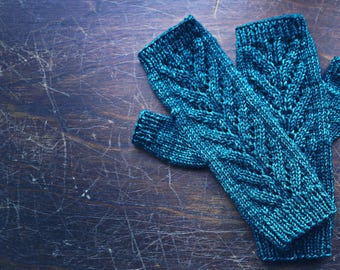 Custom Knit/Knitted Fingerless Mitts - One size