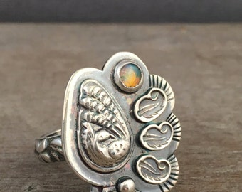 Opal ring - bird ring- size 7.5 ring - statement ring - unique ring