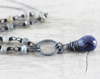 Sapphire Pendant Necklace, Black Oxidized Silver Necklace, Blue Sapphire Necklace, Sapphire Gemstone Necklace, Grey Labradorite Necklace