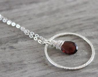 Garnet Silver Necklace, Sterling Silver Necklace, Red Garnet Necklace, January Birthstone Necklace, Garnet Gemstone Necklace, Wire Wrapped