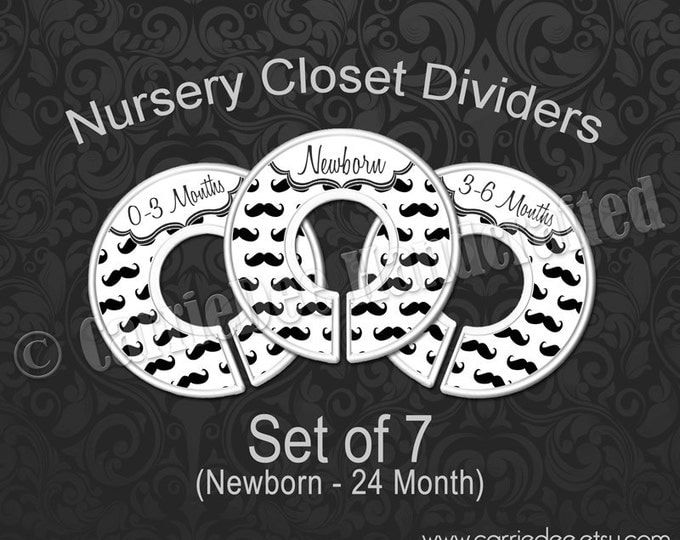 Black & White Mustache Nursery Closet Dividers, Baby Clothes Dividers, Clothes Organizers, Mustache Baby Shower, Baby Boy Gift