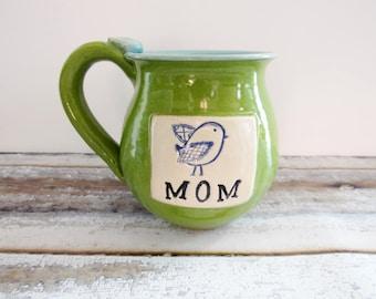 Mother's Day Mug, Spring Mug, Green Coffee Mug, Mom mug, Mug with blue bird on it, Handmade Pottery