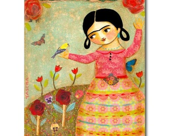 Frida Kahlo with Tiny Bird ORIGINAL painting Frida collage and acrylic paint painting one of a kind artwork by Tascha